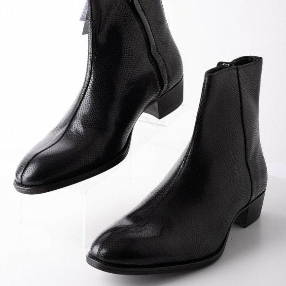 Zara Mens Black Embossed Leather Boots Sz 10 Eu 43